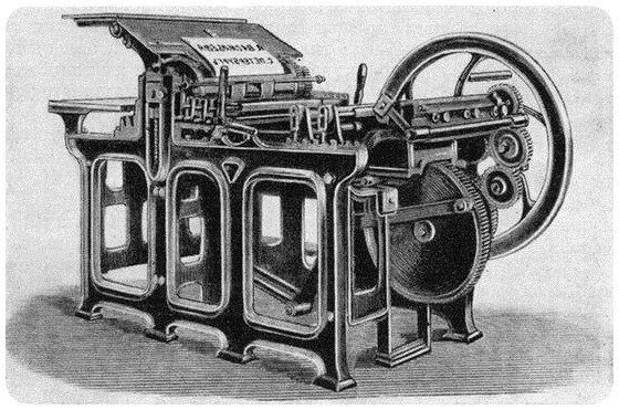 Печать книг на первых печатных машинах